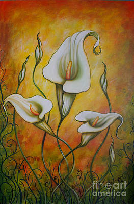 Arum Lily Painting - Ochre Arums by Nicole O'Connor