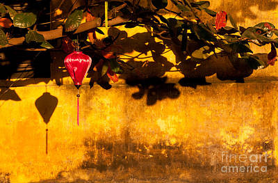 Photograph - Ochre Wall Silk Lantern 01 by Rick Piper Photography