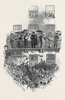 Merrion Drawing - Oconnell At The Balcony, In Merrion Square by English School