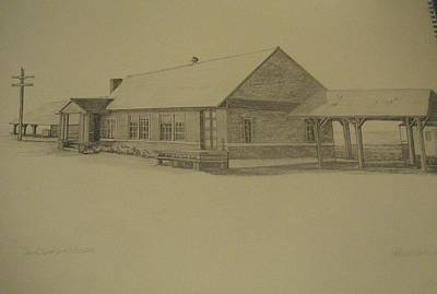 Caboose Drawing - Oconto Depot Northern Exposure by Kathleen Barlament