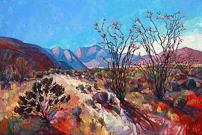 Modern Landscape Painting - Ocotillo Color by Erin Hanson