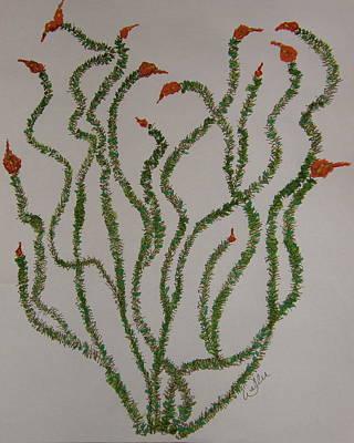 Southwest Landscape Drawing - Ocotillo Dance by Marcia Weller-Wenbert