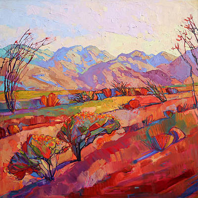 National Park Painting - Ocotillo Triptych - Center Panel by Erin Hanson
