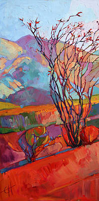 Bright Colors Painting - Ocotillo Triptych - Left Panel by Erin Hanson