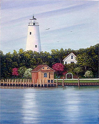 Art Print featuring the painting Ocracoke Island Light by Fran Brooks