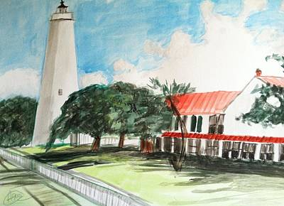 Lighthouse Drawing - Ocracoke Island Lighthouse by Asuncion Purnell