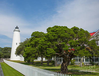 Ocracoke Lighthouse And Light Keeper's House Art Print by Kay Pickens