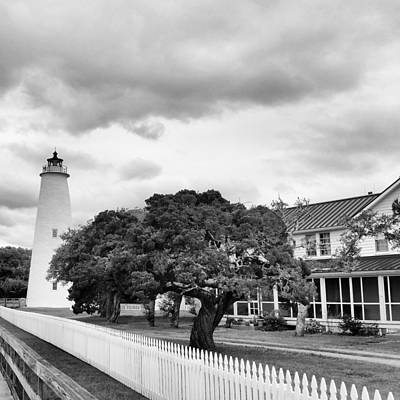 Ocracoke Lighthouse Photograph - Ocracoke Lighthouse Bw by Karen Rhodes