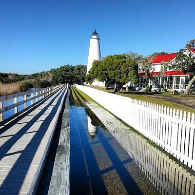 Ocracoke Lighthouse Photograph - Ocracoke Lighthouse Reflection by Karen Rhodes