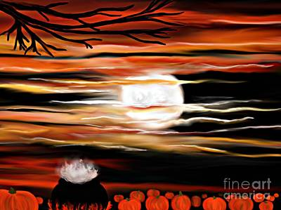 Samhain Painting - October 31st - Samhain Skies by Roxy Riou