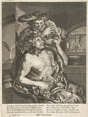 October, Bacchus Who Drinks Wine, Anonymous Art Print by Anonymous And Reinier Van Persijn And Joachim Von Sandrart