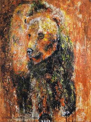 Painting - Abstract Bear Painting October Bear by Jennifer Morrison Godshalk