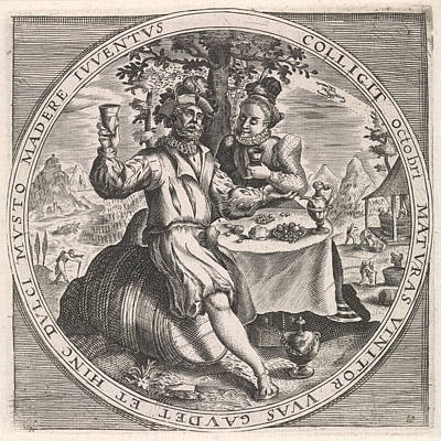 Grapes Drawing - October Couple Drinking Wine, Anonymous by Anonymous And Crispijn Van De Passe (i) And Maerten De Vos