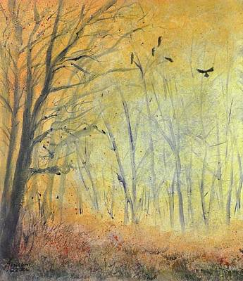 Mixed Media - October Crow One by Kenny Henson