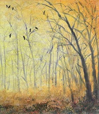 Mixed Media - October Crow Three by Kenny Henson