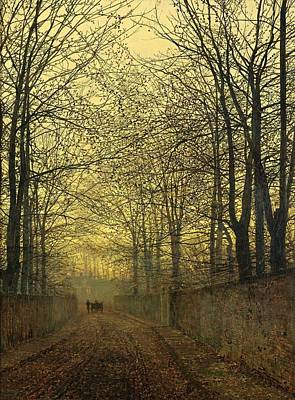 Autumn Landscape For Sale Painting - October Gold by John Atkinson Grimshaw