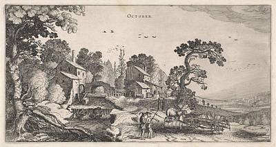 Grapes Drawing - October, Jan Van De Velde II by Jan Van De Velde (ii)