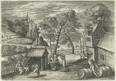 Autumn Scene Drawing - October, Julius Goltzius, Gillis Mostaert by Julius Goltzius And Gillis Mostaert (i) And Hans Van Luyck