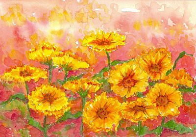 Painting - October Marigolds by Cathie Richardson