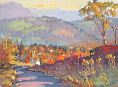 Distant Mountains Painting - October Morning At The Glen by Len Stomski
