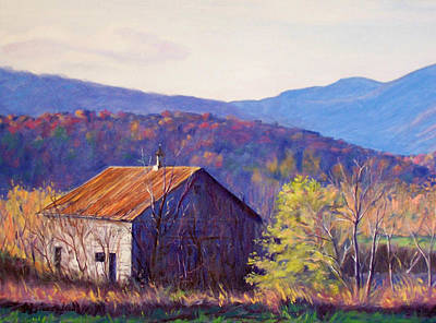 Old Barn Painting - October Morning by Bonnie Mason