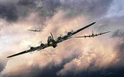 B-17 Wall Art - Digital Art - October Sky 1944 by Peter Chilelli