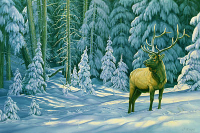 Wildlife Landscape Painting - October Snow by Paul Krapf