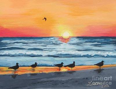 Painting - October Sunset On Siesta Key Florida by J Linder