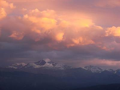 October Sunset Over Longs Peak Art Print by Margaret Bobb