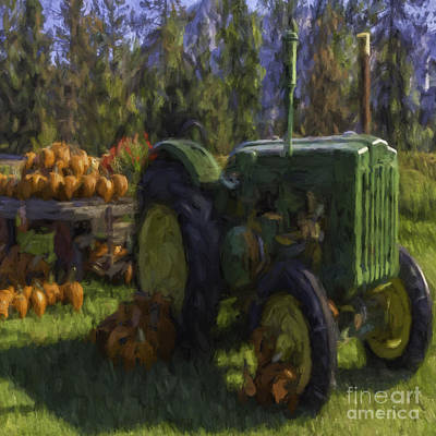 October Tractor Art Print by Jean OKeeffe Macro Abundance Art