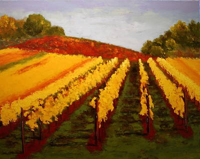 Art Print featuring the painting October Vineyard by Nancy Jolley
