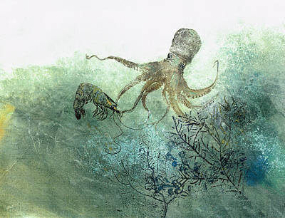 Fish Rubbing Mixed Media - Octopus And Shrimp by Nancy Gorr