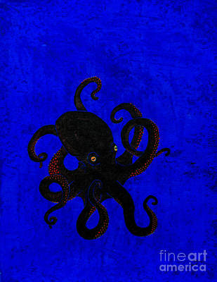 Octopus Black And Blue Art Print by Stefanie Forck