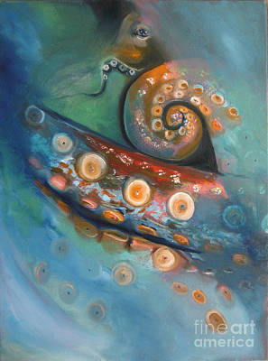 Painting - Octopus In The Mist by Donna Chaasadah