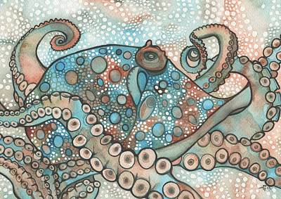 Earth Tone Painting - Octopus by Tamara Phillips