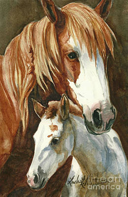 Mustang A Day Challenge Painting - Oda And Hopscotch by Linda L Martin