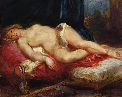 Hookah Painting - Odalisque by Ferdinand Victor Eugene Delacroix