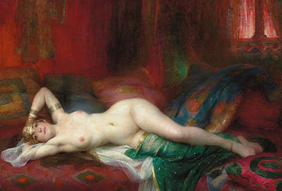 Red Female Nude Painting - Odalisque by Henri Adrien Tanoux