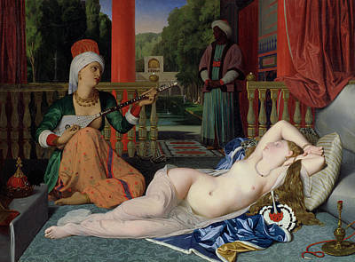 Unclothed Painting - Odalisque With Slave by Ingres