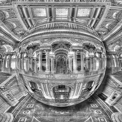 Painting - Ode To Mc Escher Library Of Congress Orb by Tony Rubino