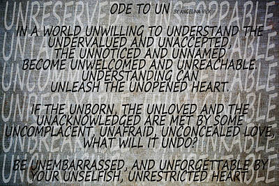 Mixed Media - Ode To Un by Angelina Vick