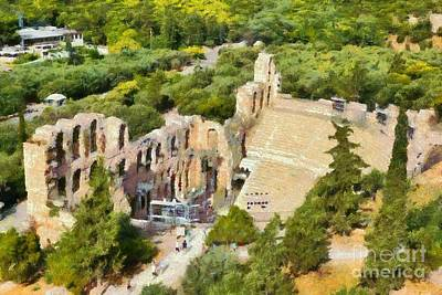 View Painting - Odeon Of Herodes Atticus In Athens by George Atsametakis