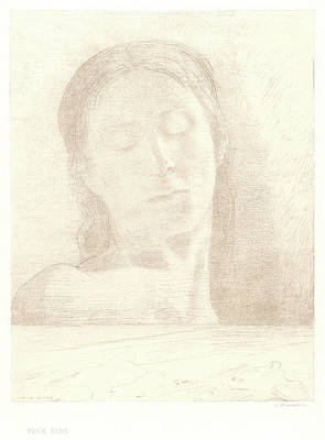 1916 Drawing - Odilon Redon French, 1840 - 1916. Closed Eyes Yeux Clos by Litz Collection