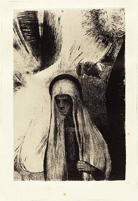 1916 Drawing - Odilon Redon French, 1840 - 1916, La Vieille Que Crains-tu by Quint Lox