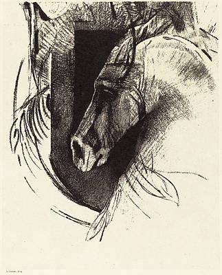 Race Horse Drawing - Odilon Redon French, 1840 - 1916, Le Coursier The Race Horse by Quint Lox