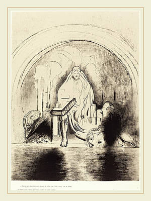 1916 Drawing - Odilon Redon French, 1840-1916, Puis Je Vis, Dans La Main by Litz Collection