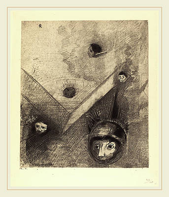 1916 Drawing - Odilon Redon French, 1840-1916, Sur Le Fond De Nos Nuits by Litz Collection