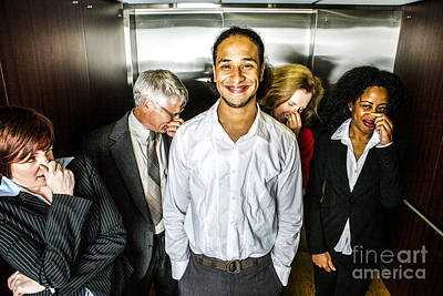 Odor In The Elevator Art Print by Diane Diederich