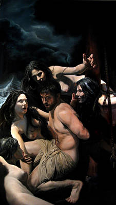 Odysseus And The Sirens Art Print by Eric  Armusik