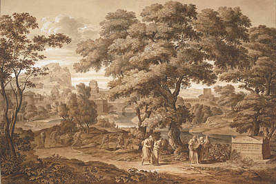 Famous Artists Drawing - Oedipus And Antigone Leave Thebes by Joseph Anton Koch